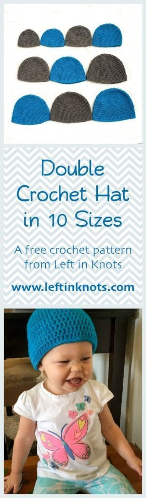 A free crochet pattern for a basic hat in 10 sizes! Everything to fit a newborn, child or adult. A fast and easy crochet pattern for teaching, learning, gifting or selling!