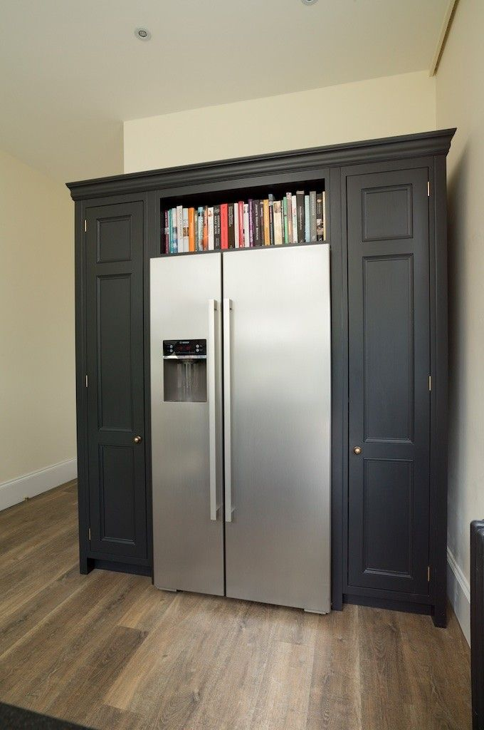 Cabinetry surrounding American fridge freezer