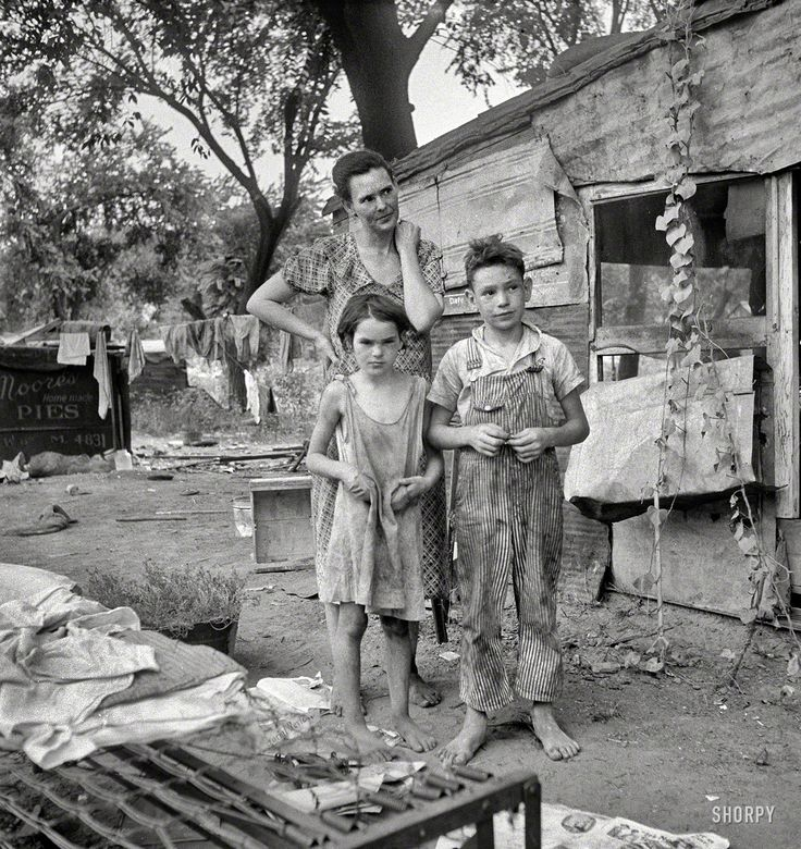 """August 1936. """"People living in miserable poverty. Elm Grove, Oklahoma County, Oklahoma."""" Medium-format nitrate negative by Dorothea Lange for the Farm Security Administration."""