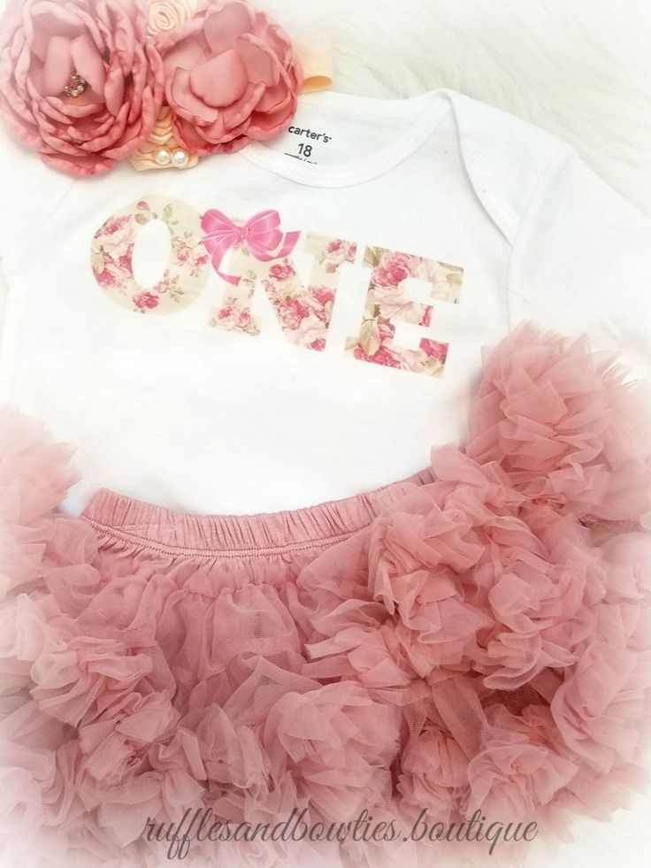 Vintage One First Birthday Outfit Dusty Rose