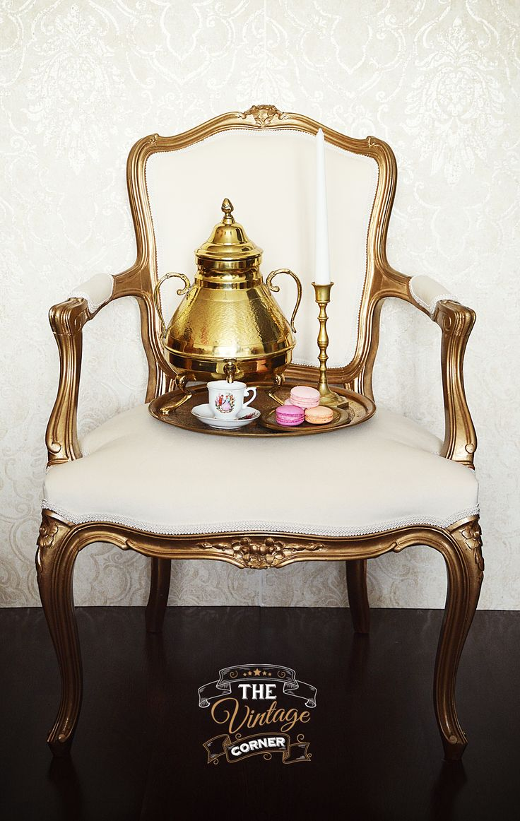 vintage gold white chair with belgian samovar