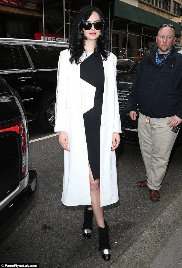 Lady in white: Earlier that day Krysten had arrived for the Today Show in a figure-hugging...
