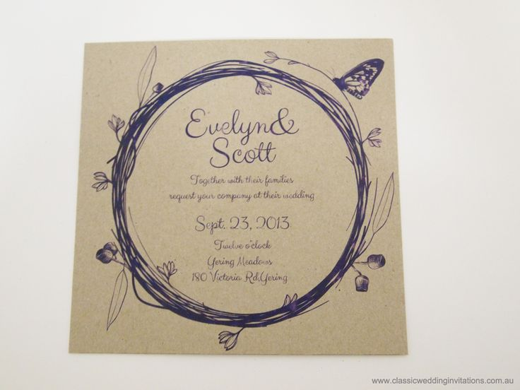 Wedding Invitations | Wedding Invitation- Australian Heritage | http://www.classicweddinginvitations.com.au/australian-themed-invitations-eco-friendly/