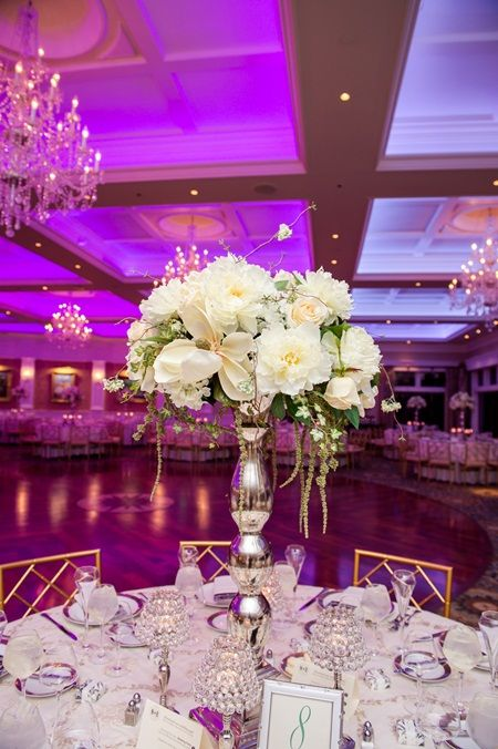Tall White and Silver Wedding Centerpiece