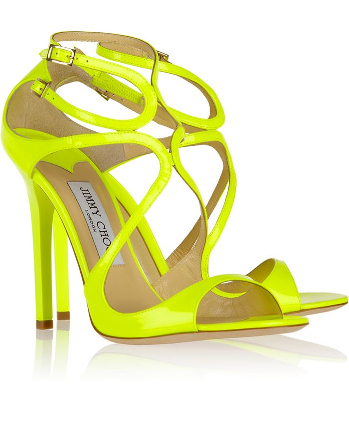 Neon Wedding Shoes   Jimmy Choo Lance neon patent-leather sandals