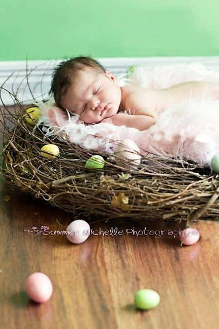 Send an easter birth announcement - creative holiday newborn photography