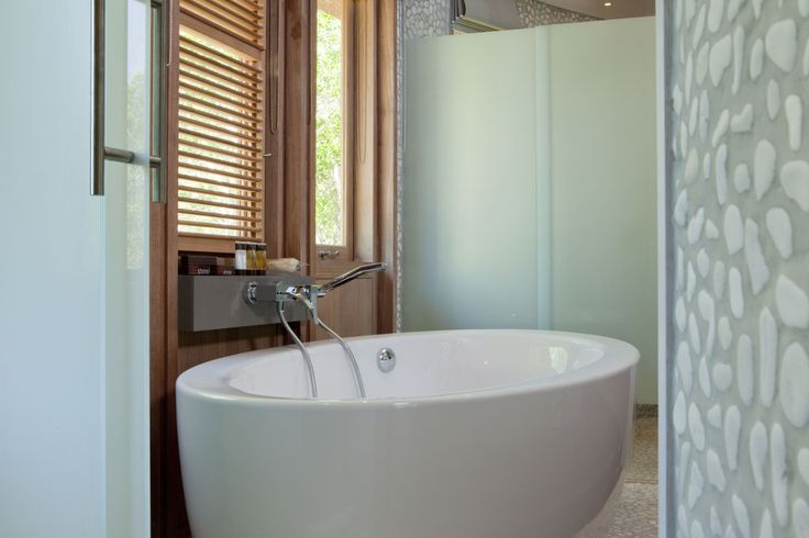 Detail of the bathroom for the bungalows at the Sheraton Gouaro Deva Resort, New Caledonia - Another project from CHADA.
