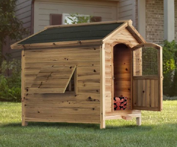 Wooden Dog House Kennel Pet Pooch Window Shelter Garden