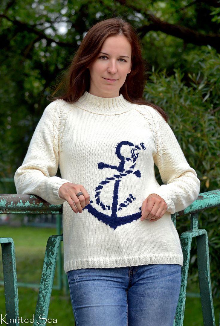 Купить Белый свитер в морском стиле с якорем - пуловер вязаный, пуловер, пуловер спицами, свитер
