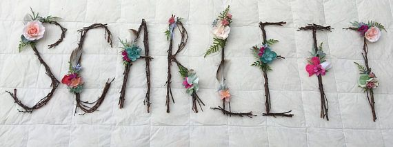 Woodland Nursery Letter, Twig Letter, Twig Monogram, Rustic Wall Letter, Rustic Letter, Baby Girl Nursery, Woodland Nursery, Fairy Decor  This fanciful twig monogram is accented with hand-assembled, high-quality, faux flowers. We will custom match it to any color choices; include preferences in the notes at checkout. Pair it with the matching twig and crystal mobile featured in our shop for a cohesive nursery, wedding, or photo shoot! www.etsy.com/listing/461575514/woodland-mob...