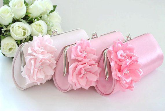 Pale Pink / Pink / Candy Pink  Bridesmaid Clutch / by Vanijja, $27.00