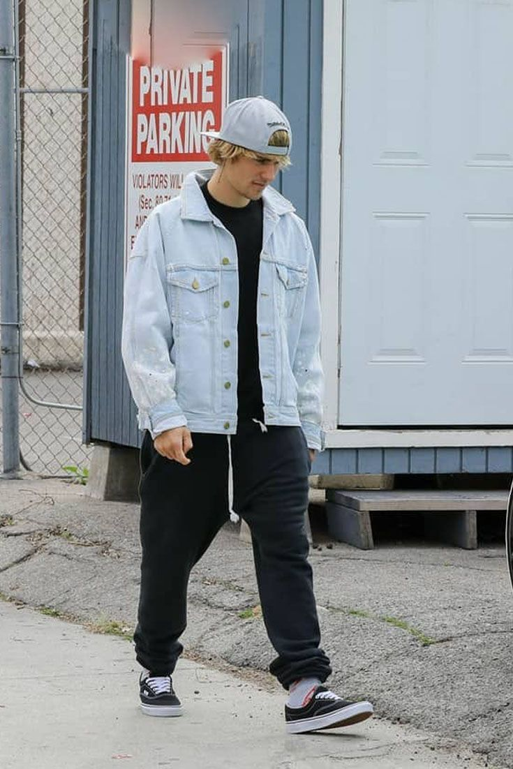 0964954529a Justin Bieber walks out in Fear of God denim jacket and Vans sneakers