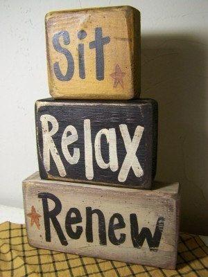SIT RELAX RENEW sign stacking wood blocks shelf by trimblecrafts