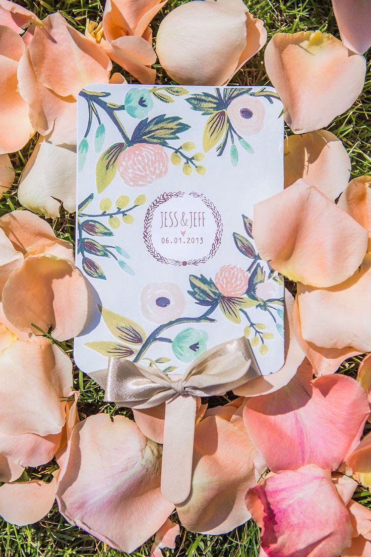 Custom Designed Whimsical Floral Ceremony Program and Fan