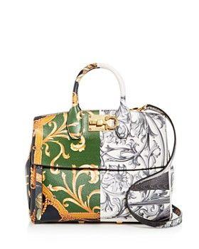 Salvatore Ferragamo - The Studio Bag Foulard Print Small Leather Satchel 32ebdc75ca5e3