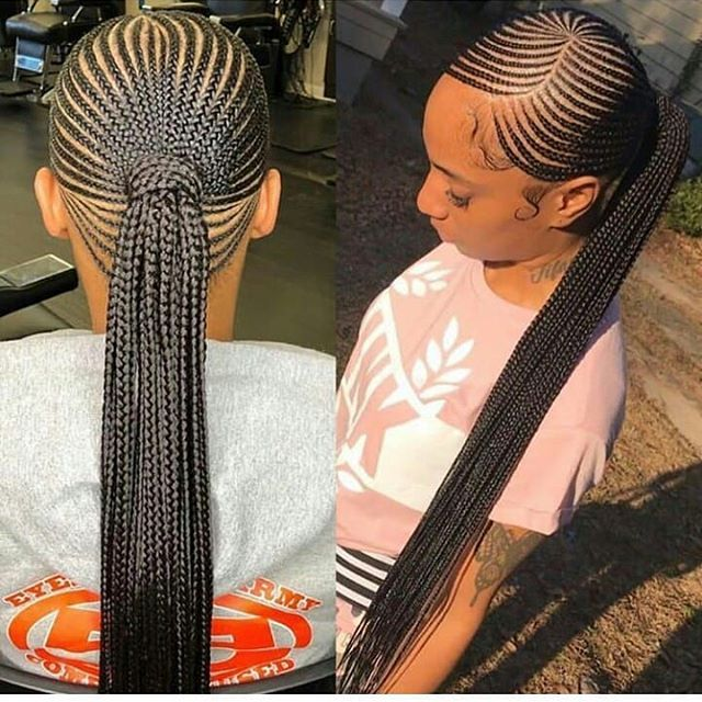 Cute Braided Ponytail Hairstyles For Black Hair Braided Hairstyles Can Be Plaite Big Cornrows Hairstyles Braided Ponytail Hairstyles African Braids Hairstyles