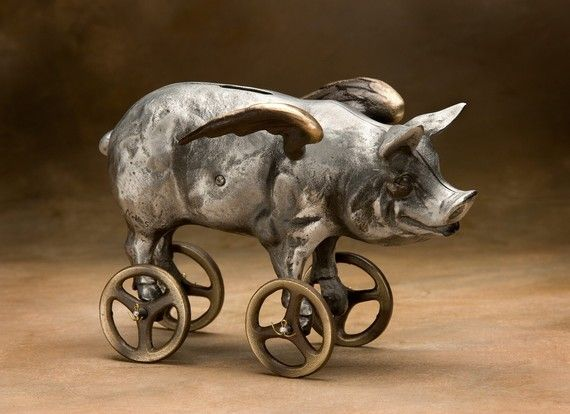 Flying Pig Coin Bank Cast Aluminum with Bronze Wheels by Nelles, $175.00Fly Pigs, Pigs Coins, Cast Aluminum, Art Sculpture, Flying Pigs, Pigs Fly, Scott Nell, Piggies Banks, Coins Banks