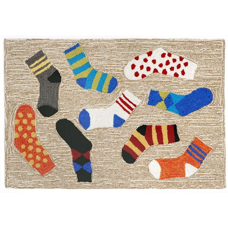 Trans Ocean Imports Liora Manne Frontporch Lost Socks Indoor Outdoor Rug, Multicolor
