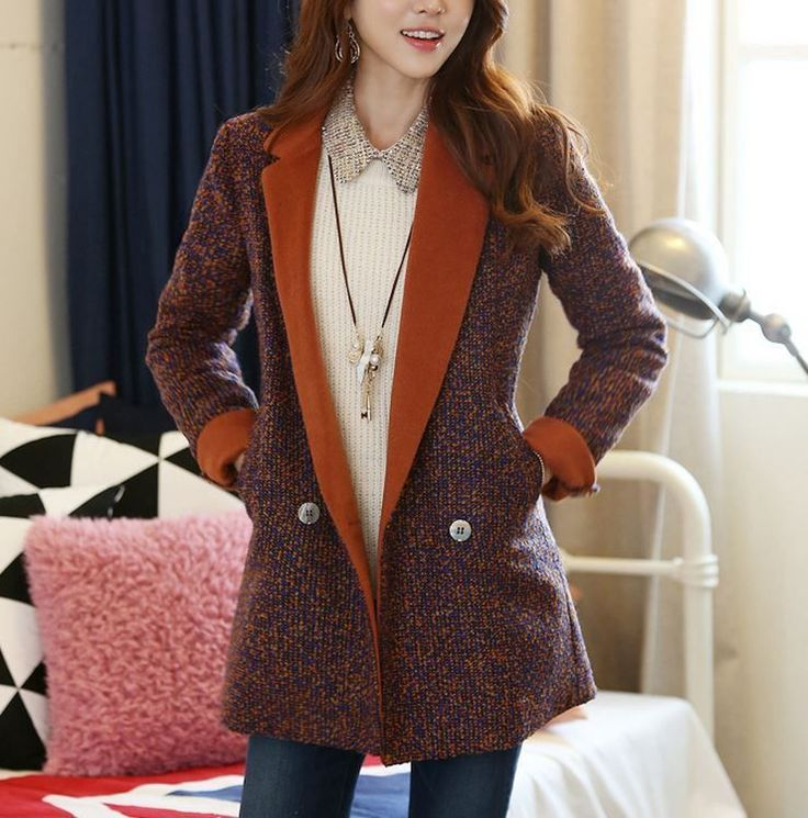 StyleOnMe_Stylish Color Mix Slim Fit Wool Coat _Made in Korea #StyleOnMe #BasicCoat www.styleonme.com www.facebook.com/styleonmeEn