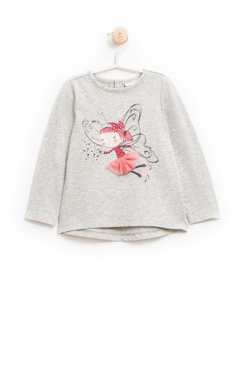 Long-sleeved cotton T-shirt with tulle | OVS