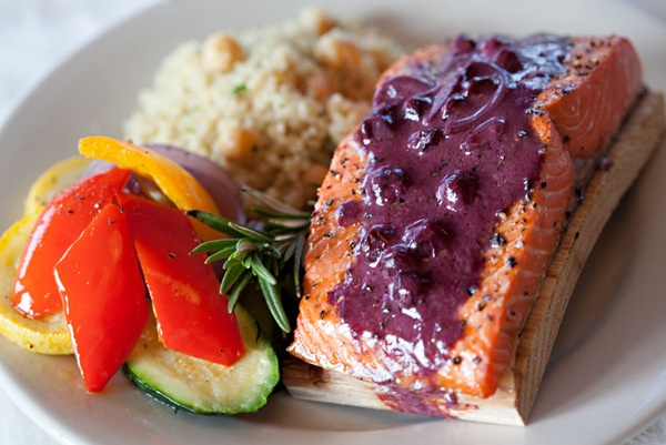 Cedar Plank Salmon with Huckleberry Pinot Noir Sauce - Beacon Hill Catering - #BeaconHillCatering