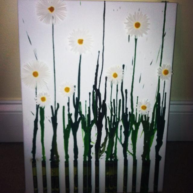 Daisy wax crayon art!