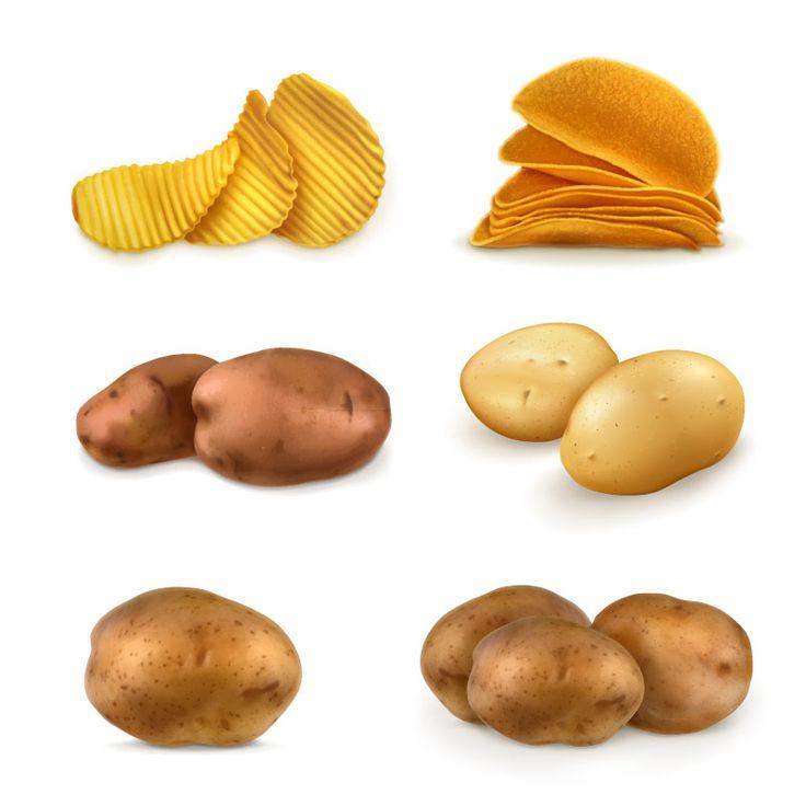 6款土豆与薯片图标矢量素材