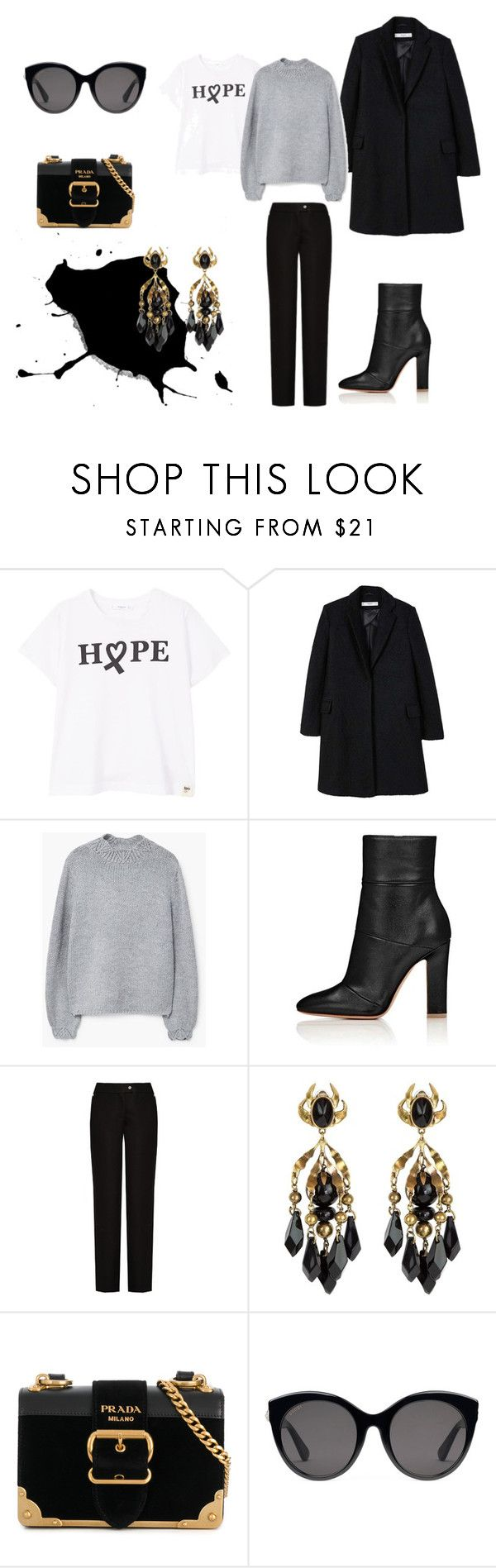 """""""Untitled #68"""" by pilvihelen on Polyvore featuring MANGO, Acne Studios, Gucci and Prada"""