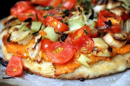 Winter Ingredient Twist:  Sweet Potato and Leek Pizza