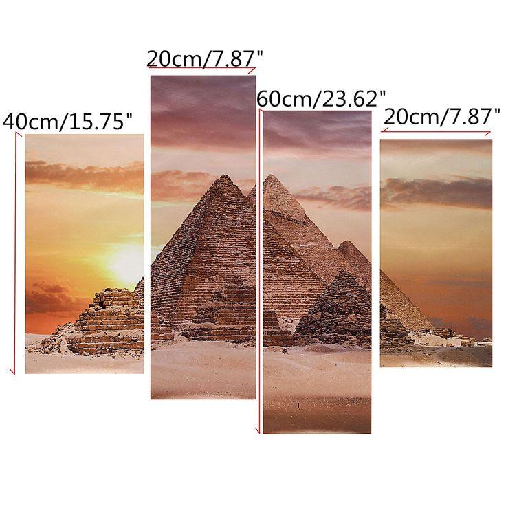 4PCS pirámides egipcias del arte abstracto sin marco óleo moderna de la impresión de la pintura de la lona Decoración - Newchic