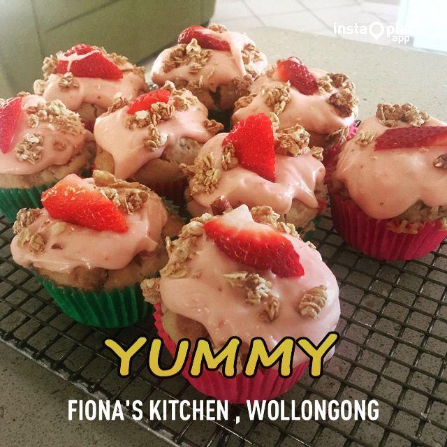 Strawberry & granola muffins