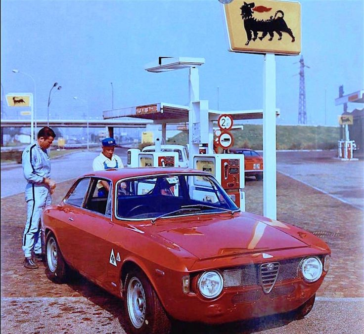 Alfa Romeo test driver Teodoro Zeccoli with the GTA in a picture for a AGIP- Supercortemaggiore ad. Circa 1966. Teodoro Zeccoli was a friend of the Jolly Gancia team and he raced at Interlagos with a works Alfa P33 under the colors of Jolly Gancia.