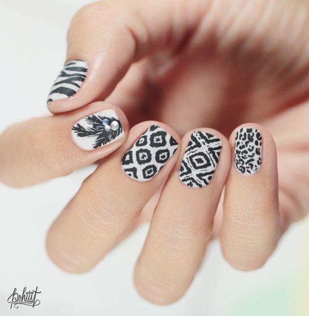 Черно-белый новогодний маникюр  ::: onelady.ru ::: #nail #nails #nailart #manicure