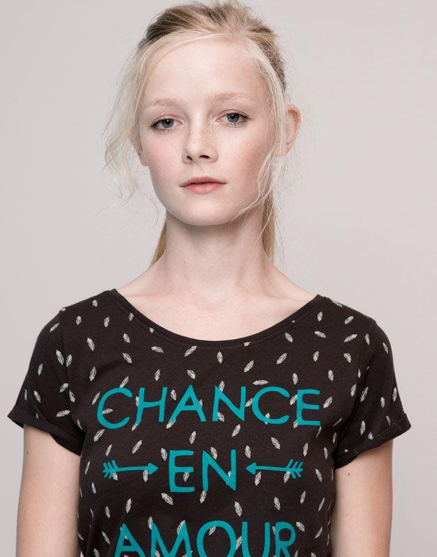Pull&Bear - femme - t-shirts et tops - t-shirt message et imprimé allover manches courtes - noir délavé - 09231374-I2015