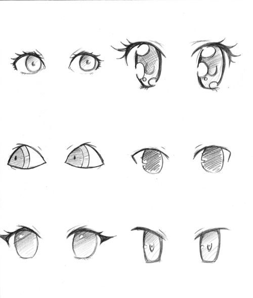 different anime eye styles...liking the one top right <3 so kawaii~ #anime
