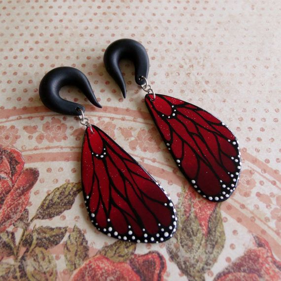 Small Ruby Butterfly Wings Gauged by TheCreatorsCreations on Etsy