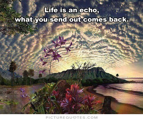 Life is an echo, what you send out comes back. Life quotes on PictureQuotes.com.
