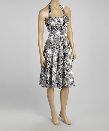 This White & Black Halter Dress by Aryeh is perfect! #zulilyfinds