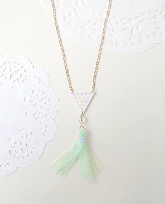 Triangle necklace  Geometric  Ribbon  Tassel  White
