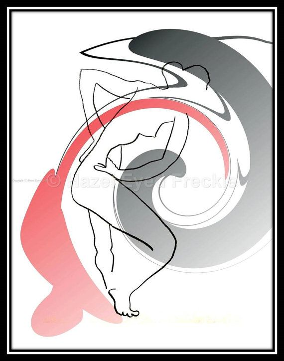 """Nude Art Print Abstract Art Print Red Black by HazelEyedFreckle  This 8"""" x 10"""" minimalist nude original ink drawing print is 100% original artwork created by me. You will receive a print that is ready to frame. Black example frame shown in image will be removed on actual print.  To view more artwork - https://www.etsy.com/shop/HazelEyedFreckle"""