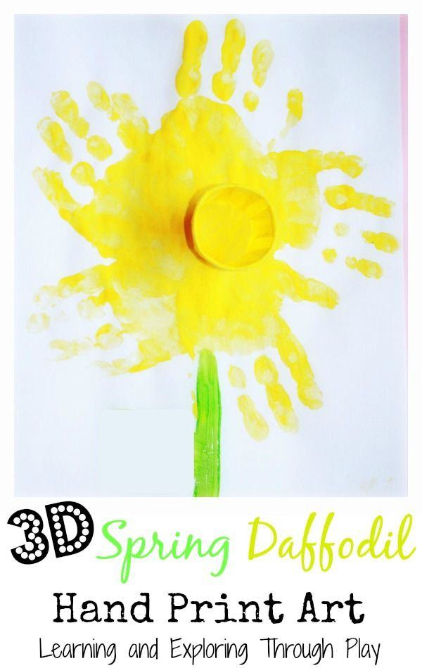 3D Art. Art Projects for Kids. Spring Art for Kids. Spring Daffodil Hand Print Art. Learning and Exploring Through Play