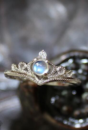 graceful blue moonstone tiny crown promise ring for her  http://www.jewelsin.com/p-antique-art-deco-moonstone-silver-tiny-crown-ring-for-her-1419