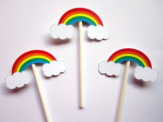 This listing is for (12) Rainbow Cupcake Toppers. These cute Cupcake Toppers will look so cute on your cupcakes. You can use these cupcake toppers to