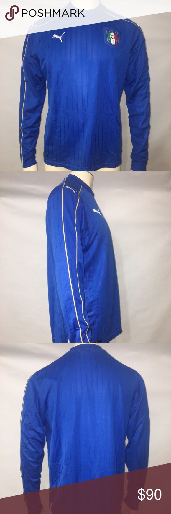 Puma L Blue FIGC Italia Home Replica Shirt New With Tags Good Condition See Pictures For Details. Puma L Blue FIGC Italia Home Replica Shirt. J006 Puma Shirts Tees - Long Sleeve