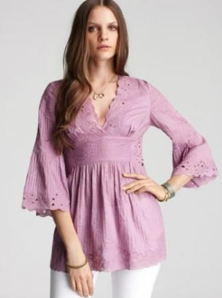 Catherine Malandrino deep V-neck tunic image - Dress to hide your belly. Pretty sure I wouldn't wear it with a deep v-neck - sheesh. BUT - tunic style shirt wouldn't be so bad. I always feel like I'm somewhere between looking like I have maternity clothes on or things are too tight >.