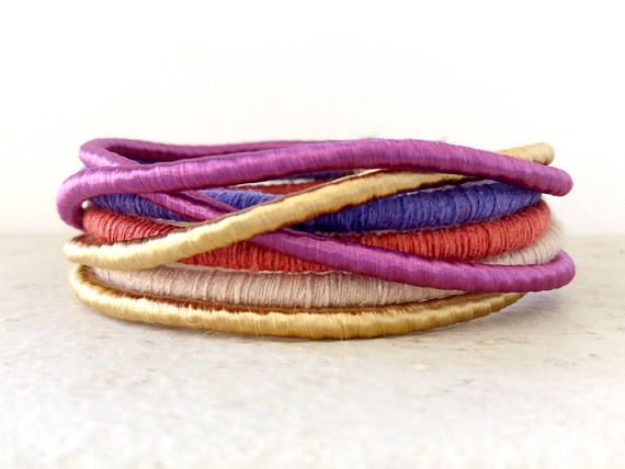Multicolor rope bangles Summer bracelet Stacking bracelets