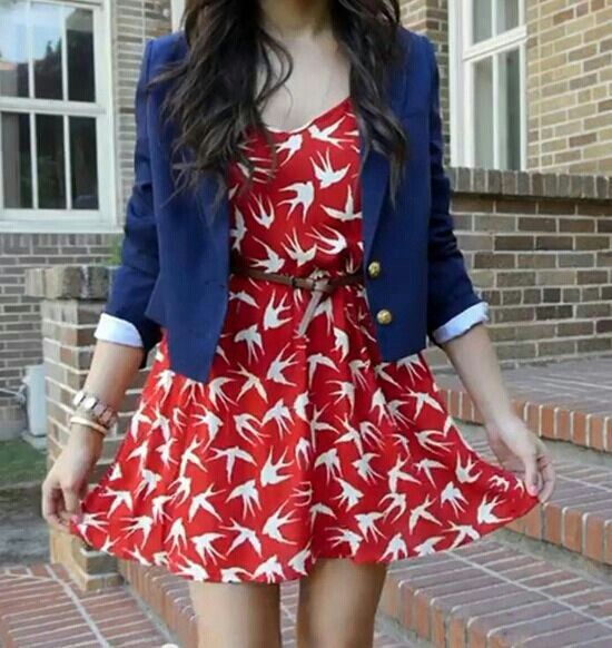 Bethany Mota outfit. Super cute dress with a blazer