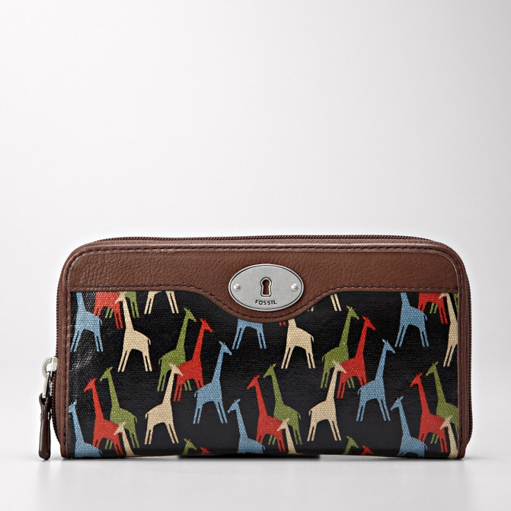 FOSSIL® Handbag Collections coated canvas: Fossil Keys Per, Zip, Giraffe Camelopardali, Bag, Fossil Wishlist, Clutch, Giraffes Fossil, Wallet, Wristlet