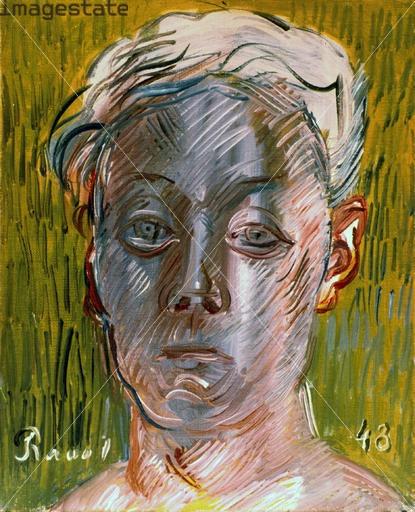 라울 뒤피(Raoul Dufy) / 프랑스의 야수파 화가. 1905년 살롱 데 앙데팡당에서 앙리 마티스의 그림을 보고 야수파에 매료되어 그 길을 걷게 된다. 알록달록한 색채의 풍경화를 다수 그려왔던 라울 뒤피의 자화상답게 배경, 얼굴 등의 색채 선택이 독특하다. 48세때 그린 이 자화상의 얼굴을 어둡게 표현한 것은 1,2차 세계대전 등을 겪으며 장년이 되어가는 그의 심리상태를 묘사하고 있다.