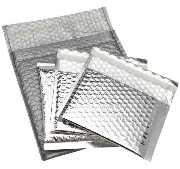 Title:      Silver bubble envelope  Client:      Progress Packaging (stock product)  Materials:      Silver foil LDPE bubble  Processes:      Laminate, weld, glue      Download image